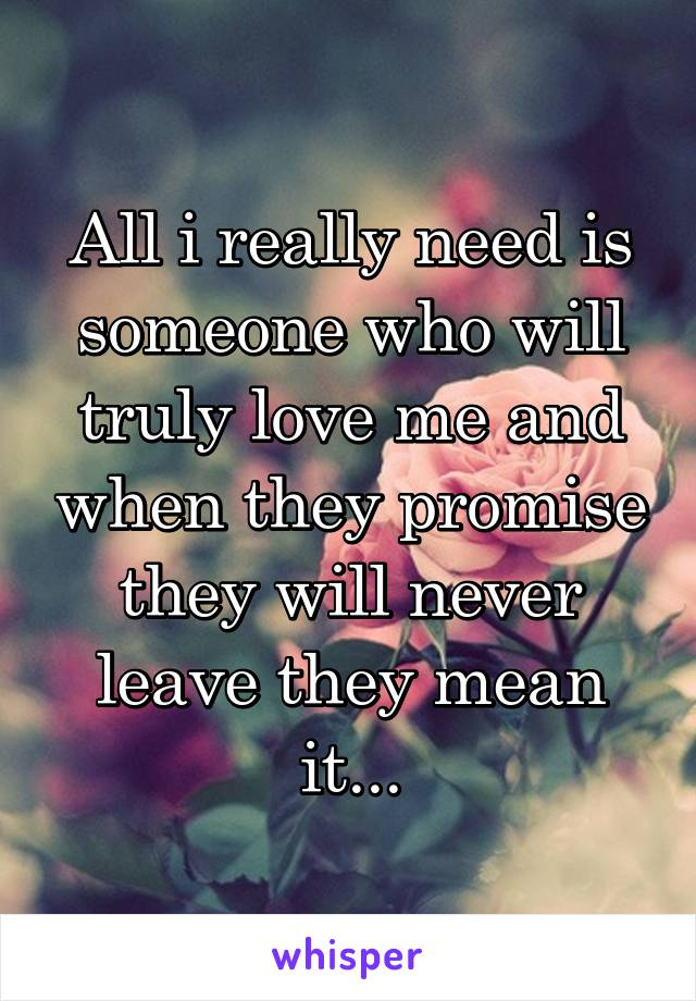 All i really need is someone who will truly love me and when they promise they will never leave they mean it...