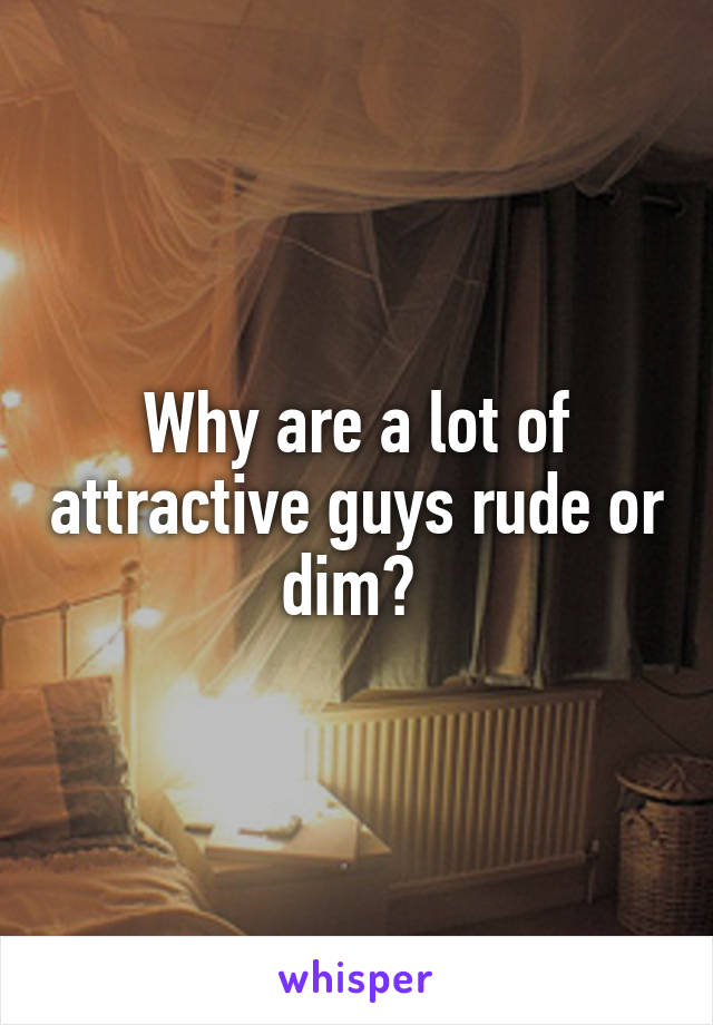Why are a lot of attractive guys rude or dim?