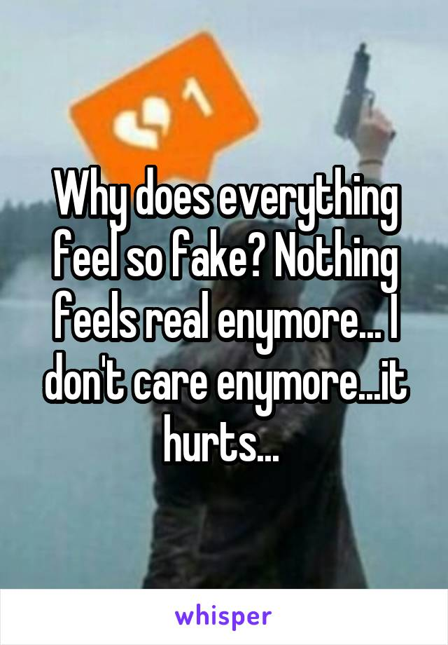 Why does everything feel so fake? Nothing feels real enymore... I don't care enymore...it hurts...