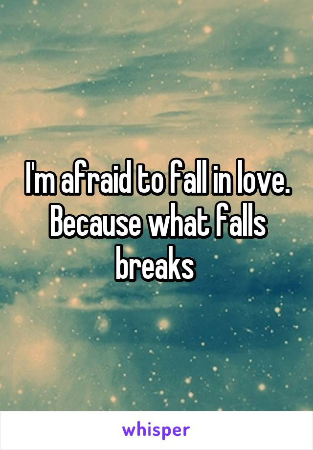 I'm afraid to fall in love. Because what falls breaks