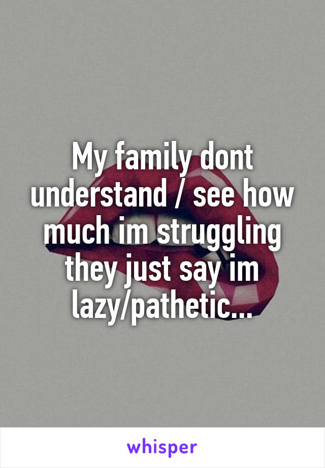 My family dont understand / see how much im struggling they just say im lazy/pathetic...