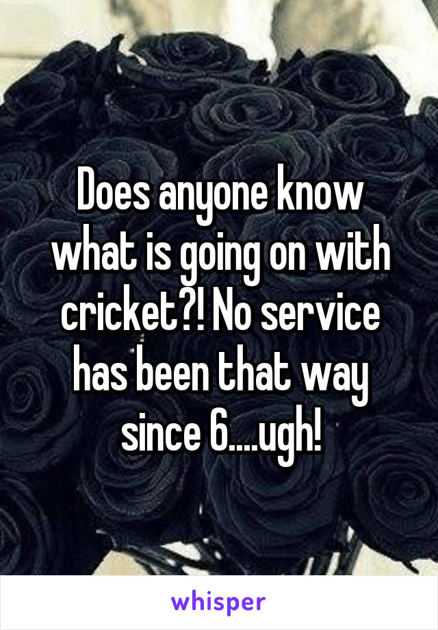 Does anyone know what is going on with cricket?! No service has been that way since 6....ugh!