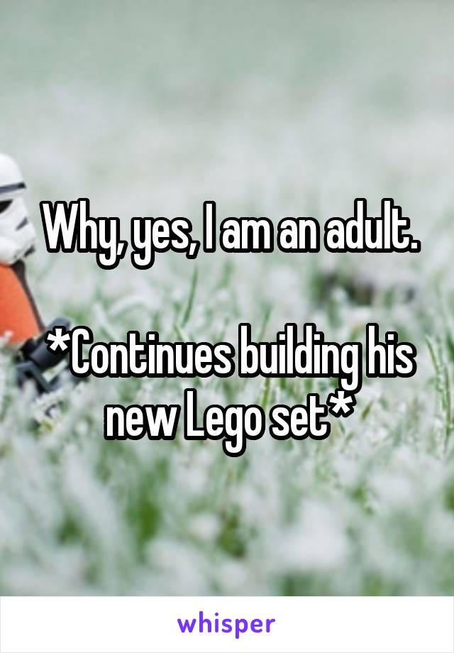 Why, yes, I am an adult.  *Continues building his new Lego set*