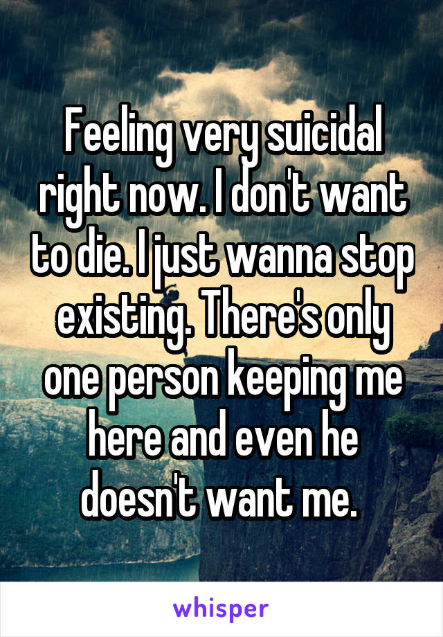 Feeling very suicidal right now. I don't want to die. I just wanna stop existing. There's only one person keeping me here and even he doesn't want me.