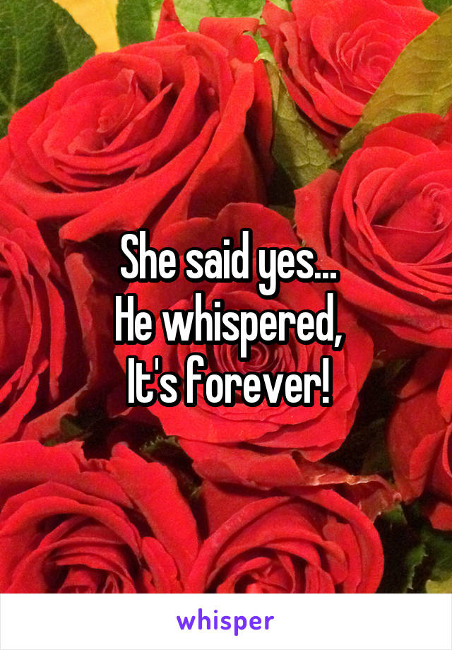 She said yes... He whispered, It's forever!