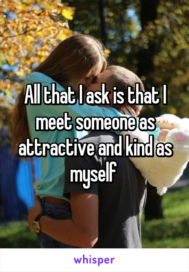 All that I ask is that I meet someone as attractive and kind as myself