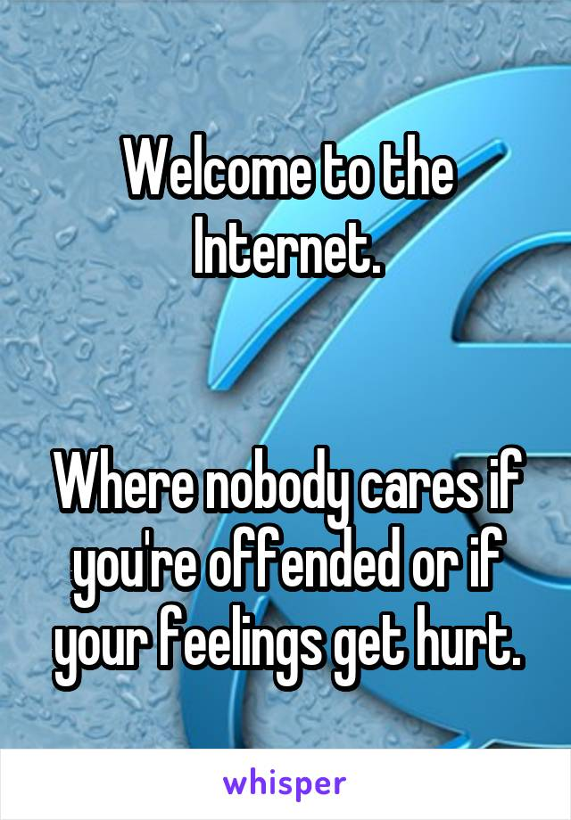Welcome to the Internet.   Where nobody cares if you're offended or if your feelings get hurt.