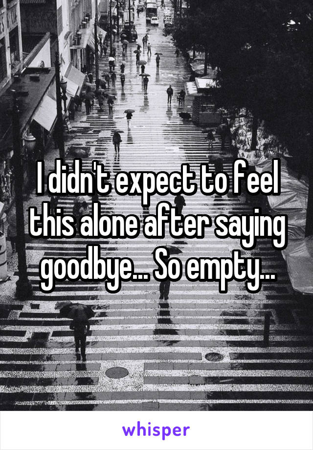 I didn't expect to feel this alone after saying goodbye... So empty...