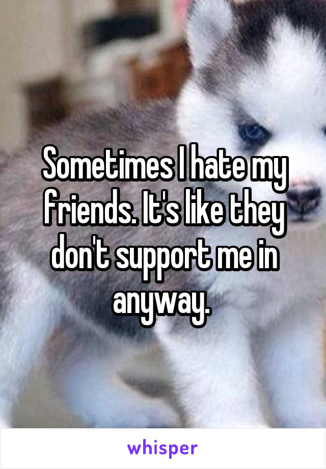 Sometimes I hate my friends. It's like they don't support me in anyway.