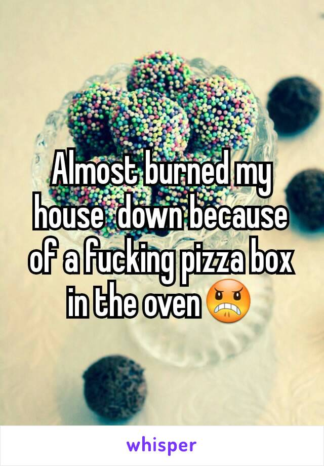 Almost burned my house  down because of a fucking pizza box in the oven😠
