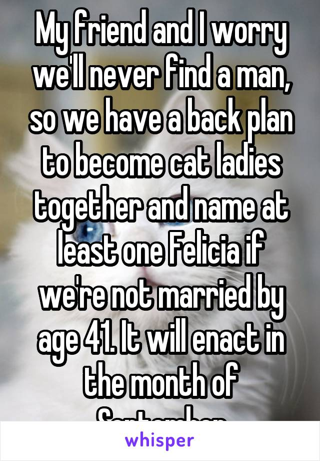 My friend and I worry we'll never find a man, so we have a back plan to become cat ladies together and name at least one Felicia if we're not married by age 41. It will enact in the month of September