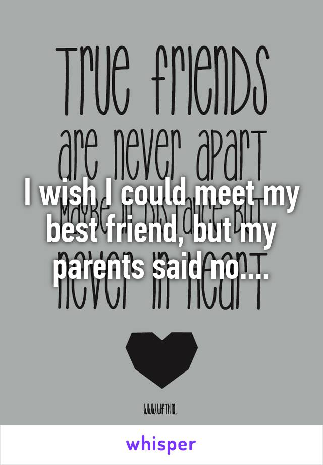 I wish I could meet my best friend, but my parents said no....