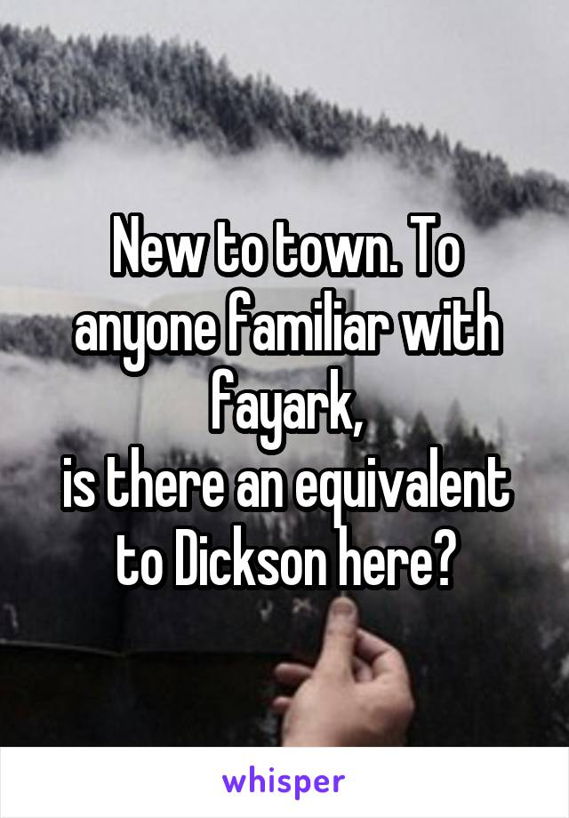 New to town. To anyone familiar with fayark, is there an equivalent to Dickson here?