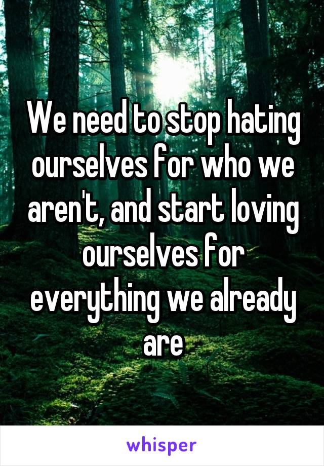 We need to stop hating ourselves for who we aren't, and start loving ourselves for everything we already are
