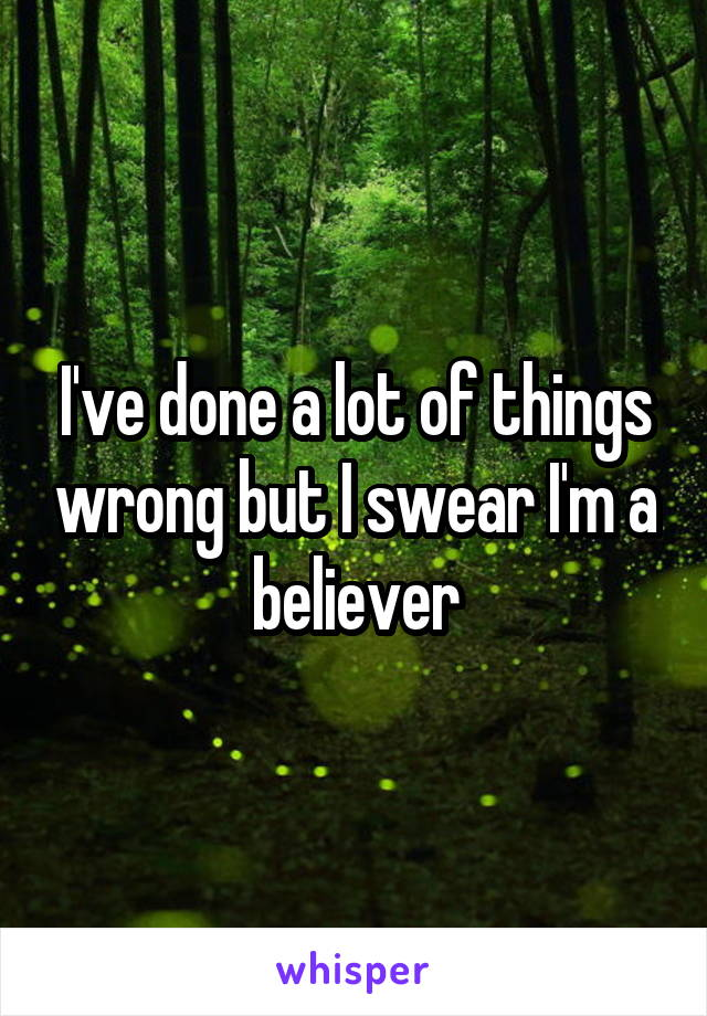 I've done a lot of things wrong but I swear I'm a believer