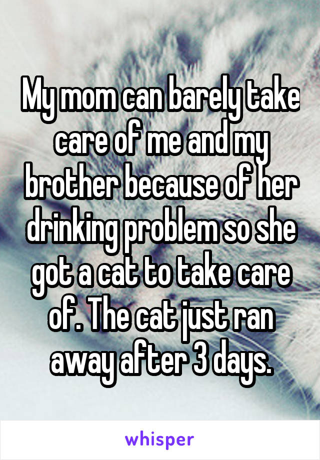 My mom can barely take care of me and my brother because of her drinking problem so she got a cat to take care of. The cat just ran away after 3 days.