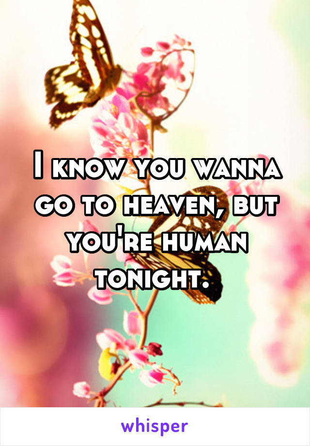 I know you wanna go to heaven, but you're human tonight.