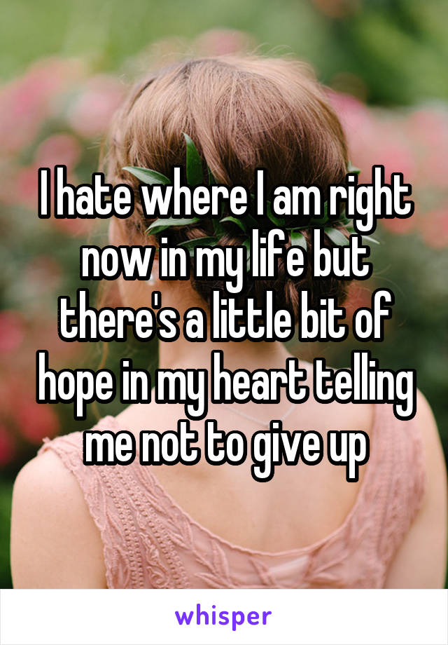 I hate where I am right now in my life but there's a little bit of hope in my heart telling me not to give up
