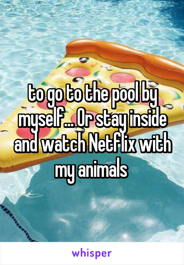 to go to the pool by myself... Or stay inside and watch Netflix with my animals