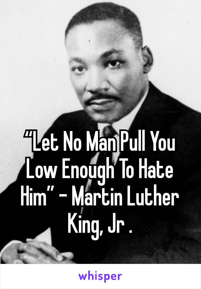 """""""Let No Man Pull You Low Enough To Hate Him"""" – Martin Luther King, Jr ."""