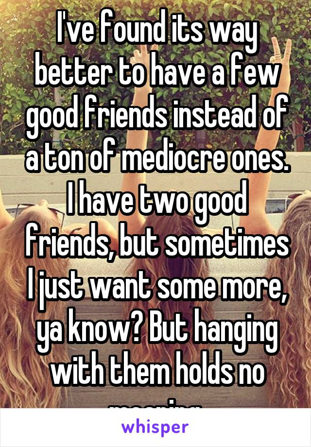I've found its way better to have a few good friends instead of a ton of mediocre ones. I have two good friends, but sometimes I just want some more, ya know? But hanging with them holds no meaning.