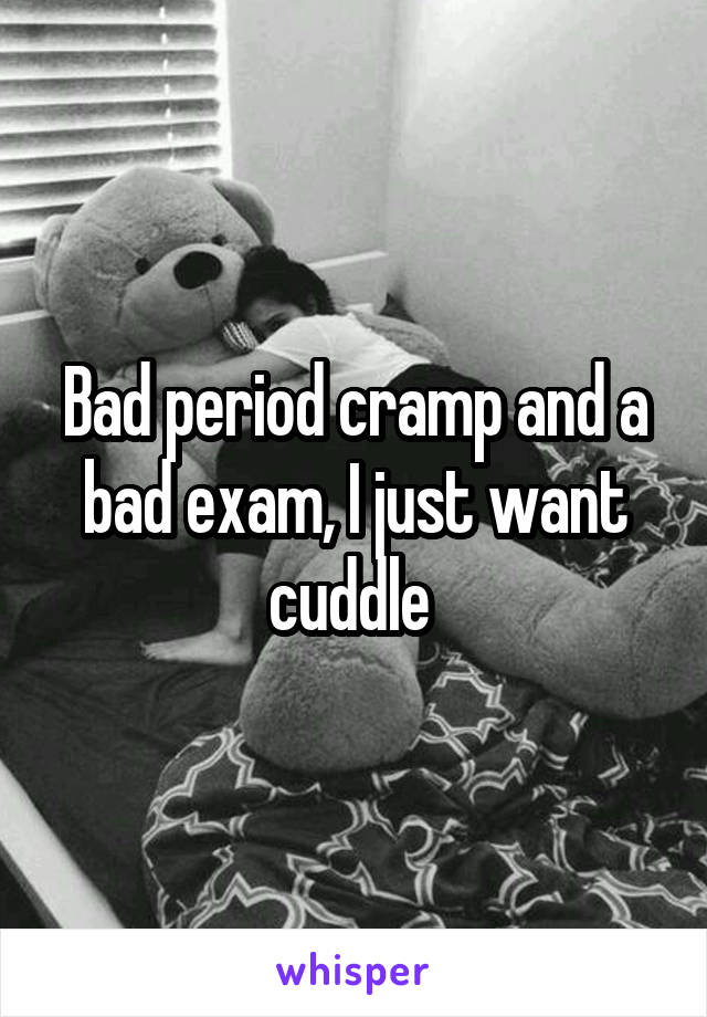 Bad period cramp and a bad exam, I just want cuddle