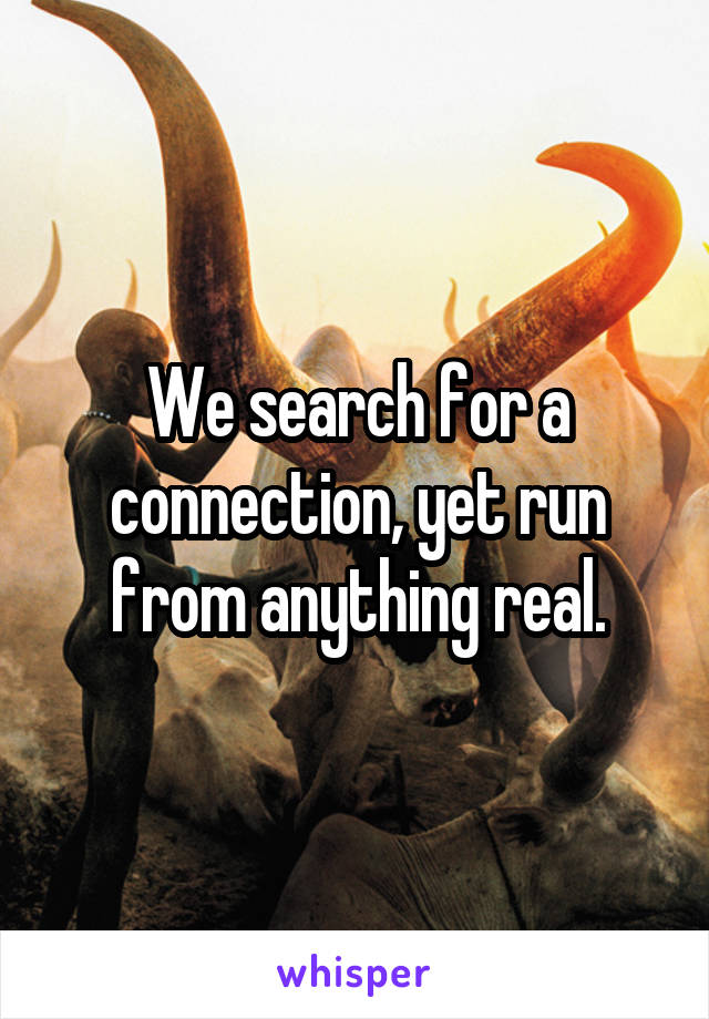 We search for a connection, yet run from anything real.
