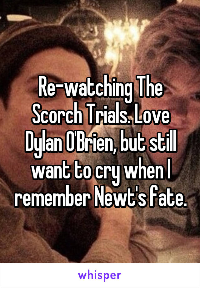 Re-watching The Scorch Trials. Love Dylan O'Brien, but still want to cry when I remember Newt's fate.