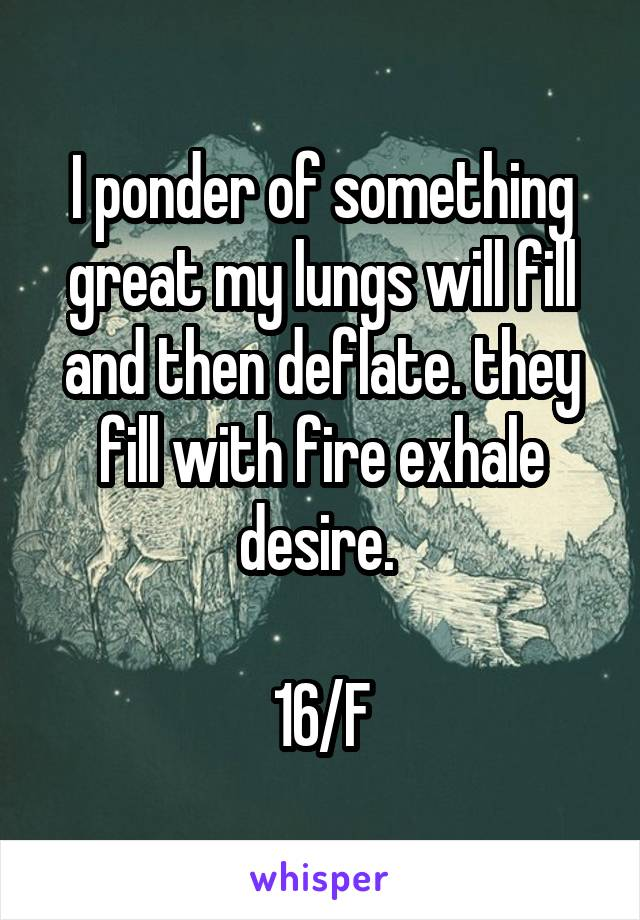I ponder of something great my lungs will fill and then deflate. they fill with fire exhale desire.   16/F