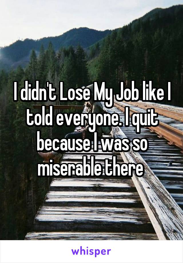 I didn't Lose My Job like I told everyone. I quit because I was so miserable there