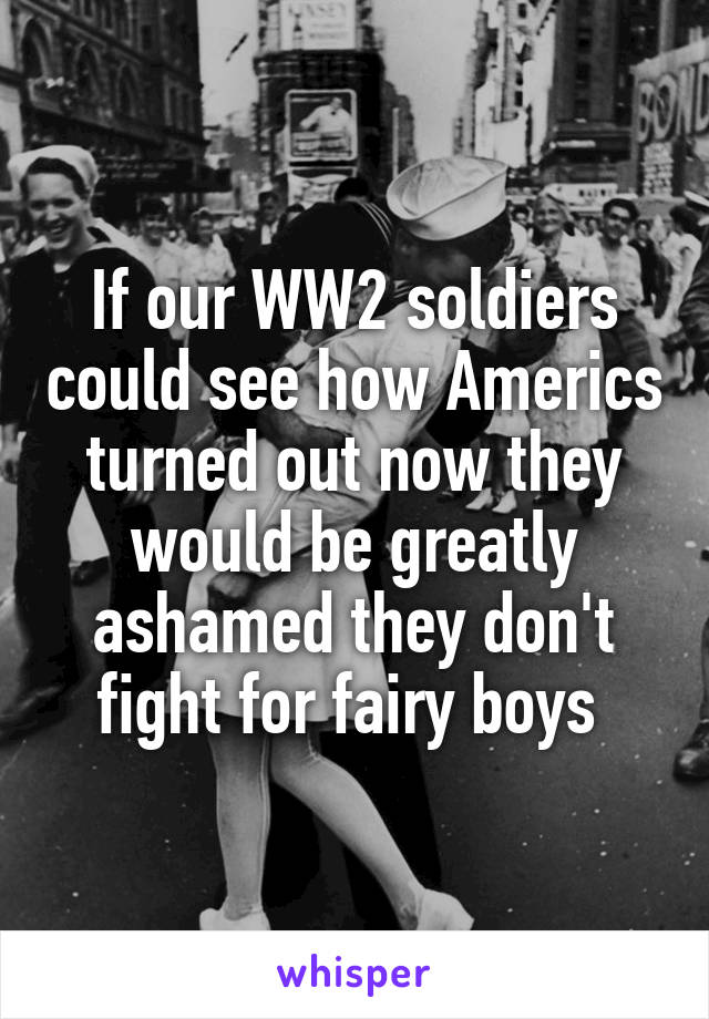 If our WW2 soldiers could see how Americs turned out now they would be greatly ashamed they don't fight for fairy boys
