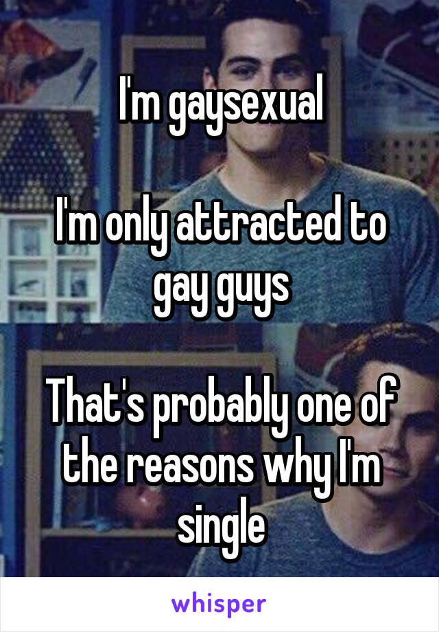 I'm gaysexual  I'm only attracted to gay guys  That's probably one of the reasons why I'm single
