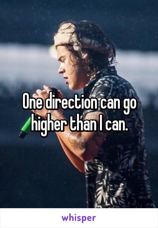 One direction can go higher than I can.