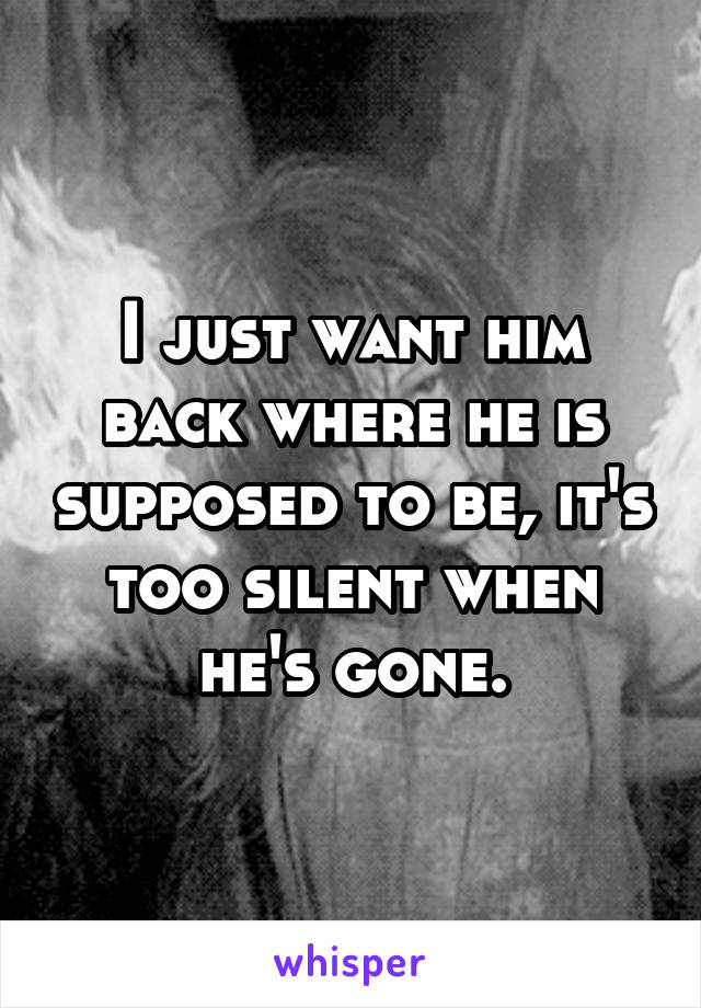I just want him back where he is supposed to be, it's too silent when he's gone.
