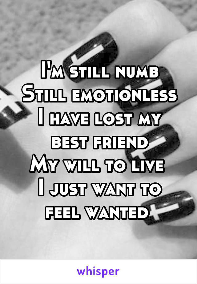 I'm still numb Still emotionless I have lost my best friend My will to live  I just want to feel wanted