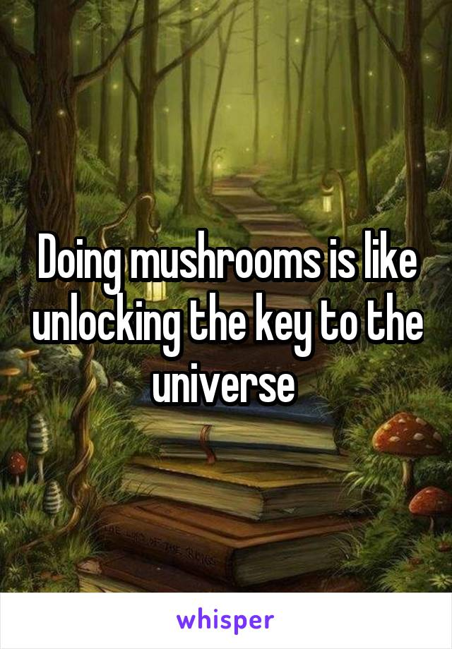 Doing mushrooms is like unlocking the key to the universe