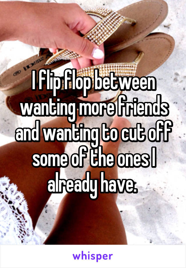 I flip flop between wanting more friends and wanting to cut off some of the ones I already have.