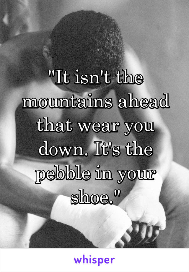 """It isn't the mountains ahead that wear you down. It's the pebble in your shoe."""