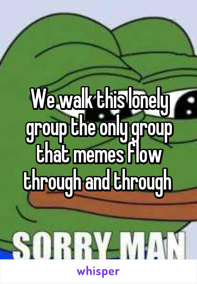 We walk this lonely group the only group that memes flow through and through