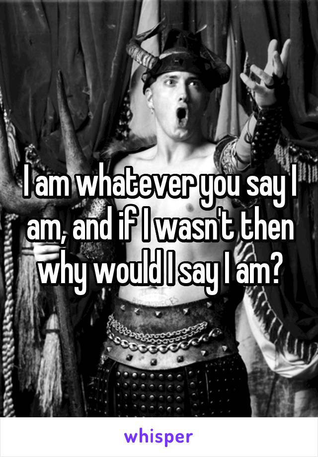 I am whatever you say I am, and if I wasn't then why would I say I am?