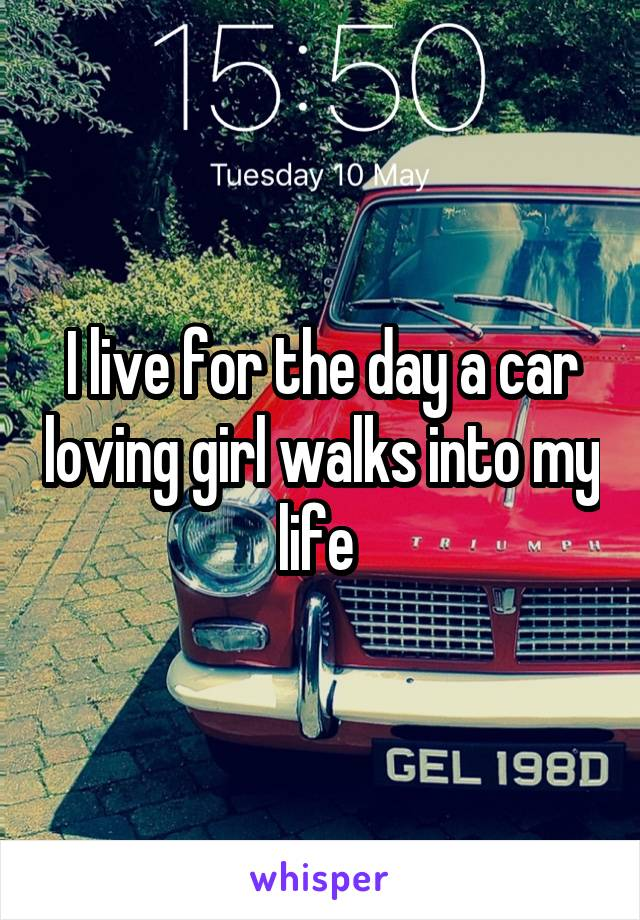 I live for the day a car loving girl walks into my life