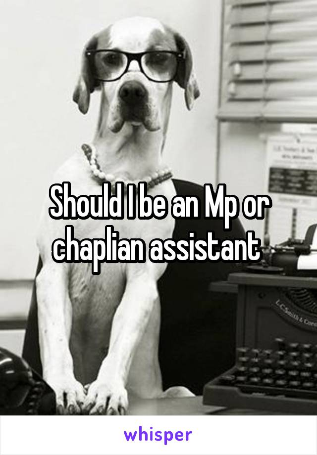 Should I be an Mp or chaplian assistant