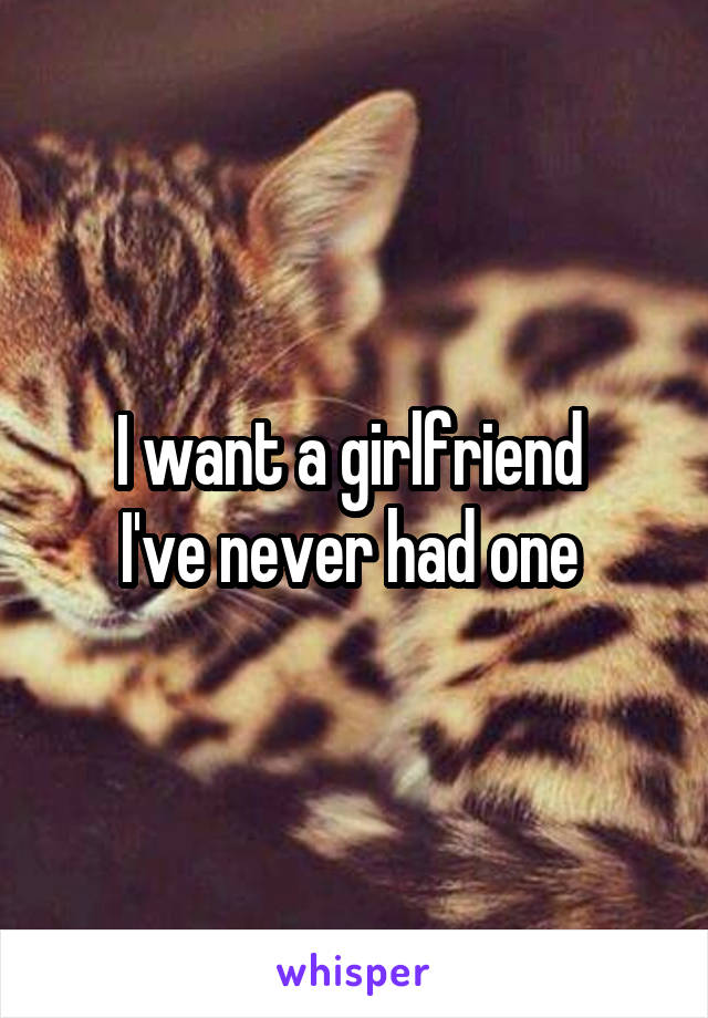 I want a girlfriend  I've never had one