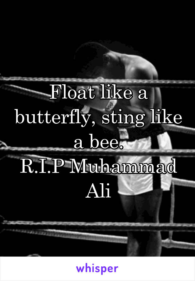 Float like a butterfly, sting like a bee. R.I.P Muhammad Ali