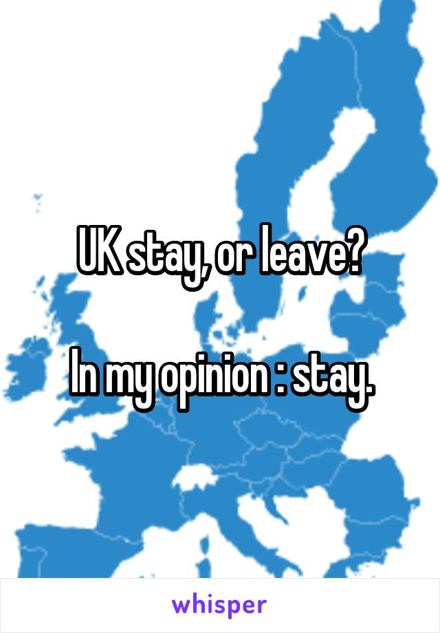 UK stay, or leave?  In my opinion : stay.