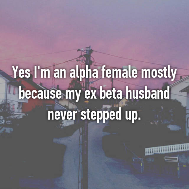 Yes I'm an alpha female mostly because my ex beta husband never stepped up.