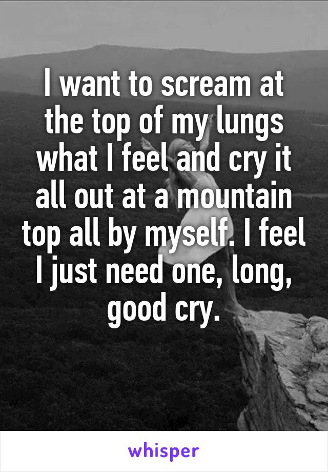 I want to scream at the top of my lungs what I feel and cry it all out at a mountain top all by myself. I feel I just need one, long, good cry.