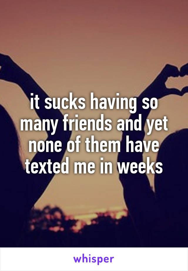 it sucks having so many friends and yet none of them have texted me in weeks