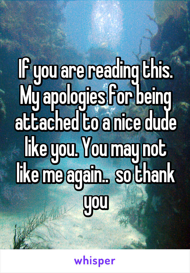 If you are reading this. My apologies for being attached to a nice dude like you. You may not like me again..  so thank you