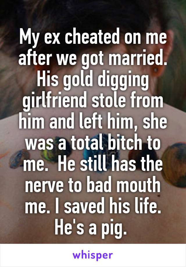 My ex cheated on me after we got married. His gold digging girlfriend stole from him and left him, she was a total bitch to me.  He still has the nerve to bad mouth me. I saved his life. He's a pig.